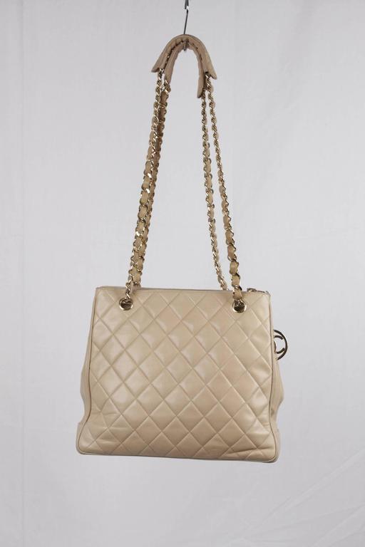 Chanel Vintage Beige Quilted Leather Tote Shoulder Bag W