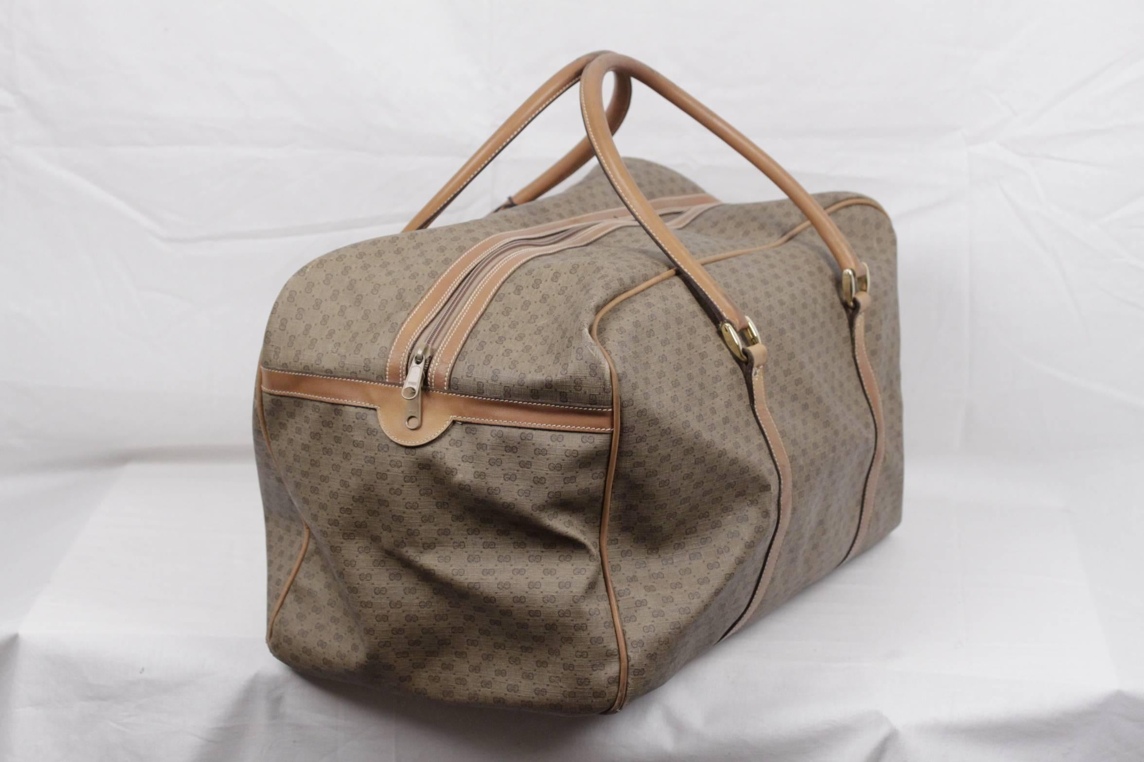 81d33262eea GUCCI Vintage Tan GG MONOGRAM Canvas WEEKENDER Travel Bag at 1stdibs