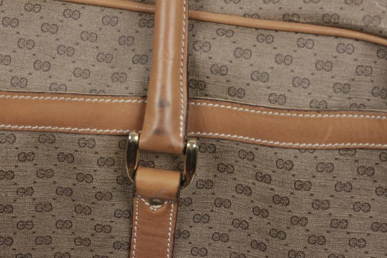 349e3f2aeb12 GUCCI Vintage Tan GG MONOGRAM Canvas WEEKENDER Travel Bag For Sale 2