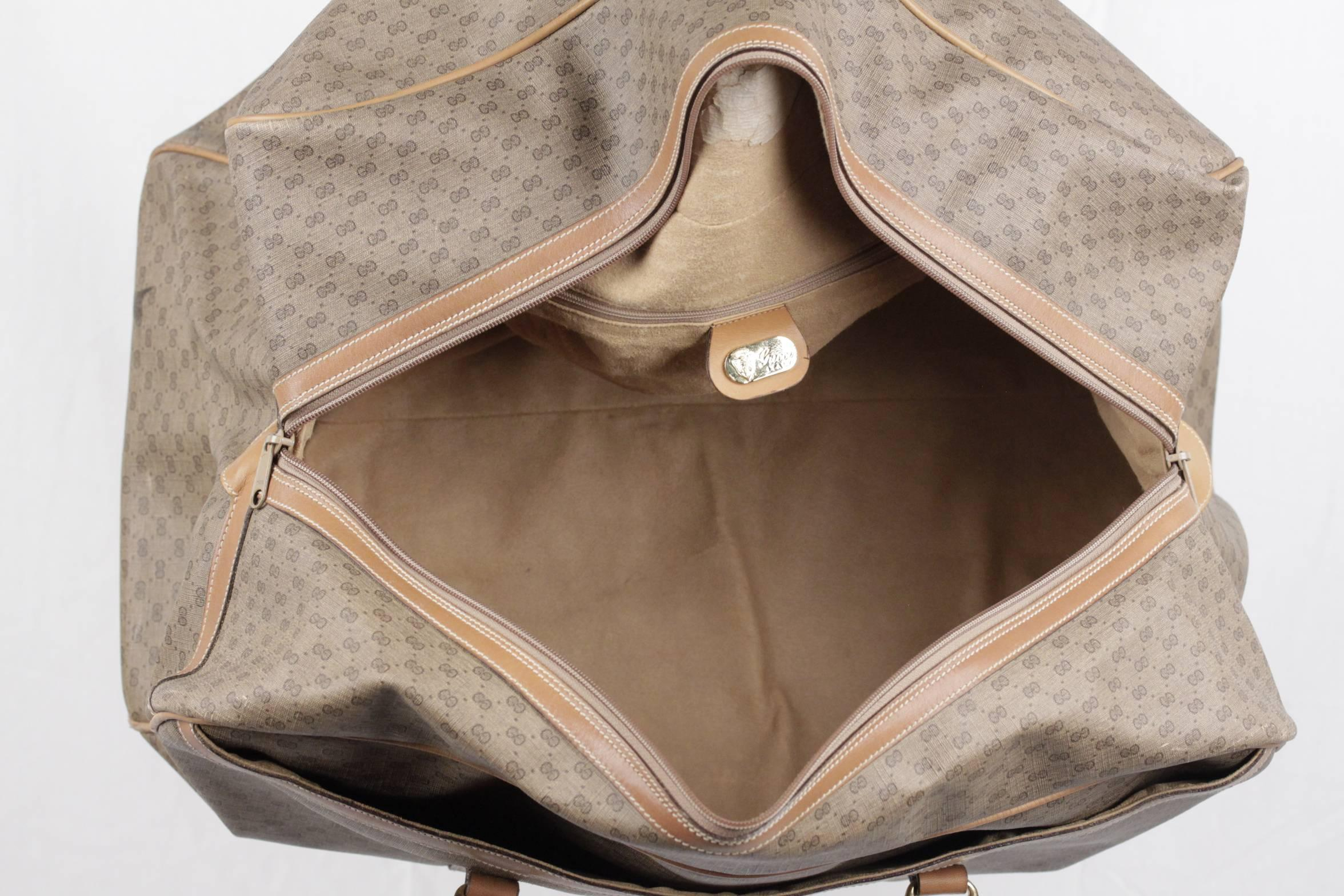 0cd853bae378 GUCCI Vintage Tan GG MONOGRAM Canvas WEEKENDER Travel Bag at 1stdibs