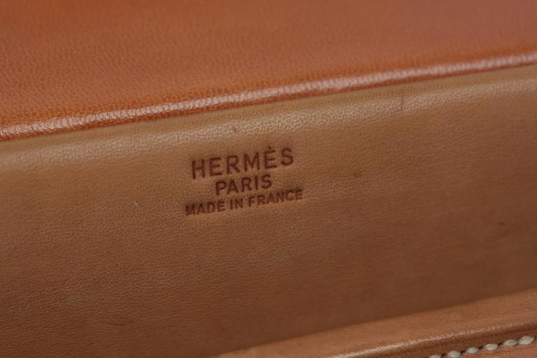 HERMES VINTAGE Tan Leather TRAVEL GROOMING SET w/ Silver TOILETRY Pieces For Sale 2