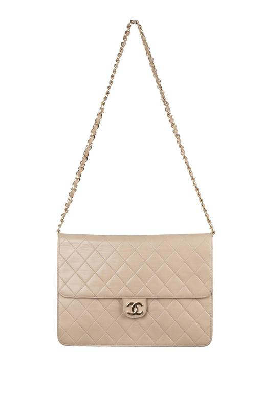 CHANEL Vintage Beige Leather QUILTED Classic 2 WAY FLAP ...