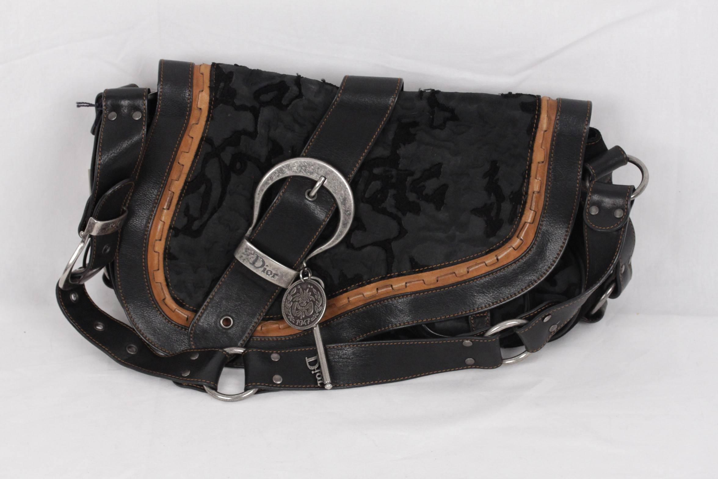 b685015f4746 CHRISTIAN DIOR LIMITED EDITION Black GAUCHO BAG Saddle SHOULDER BAG For  Sale at 1stdibs