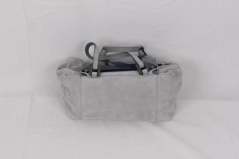FENDI Gray Grey Suede TO YOU BAG Mini Duffle MIRRORED Handbag In Good Condition For Sale In Rome, Rome