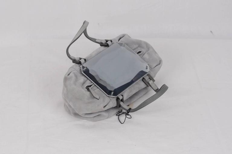 Women's FENDI Gray Grey Suede TO YOU BAG Mini Duffle MIRRORED Handbag For Sale