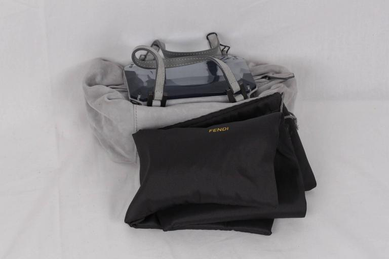 FENDI Gray Grey Suede TO YOU BAG Mini Duffle MIRRORED Handbag For Sale 2