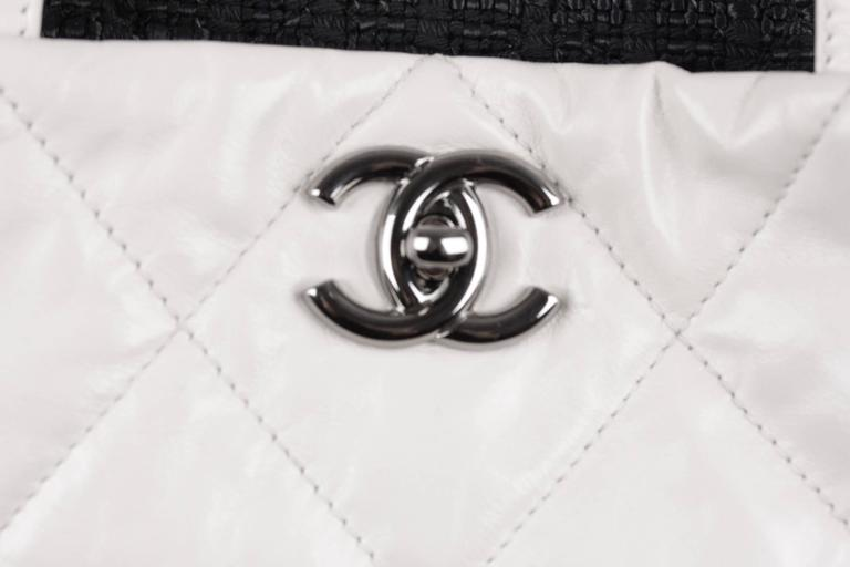 b196c2c4e70f Gray CHANEL White QUILTED Leather PORTOBELLO Tweed Flap TOTE Shoulder Bag  For Sale