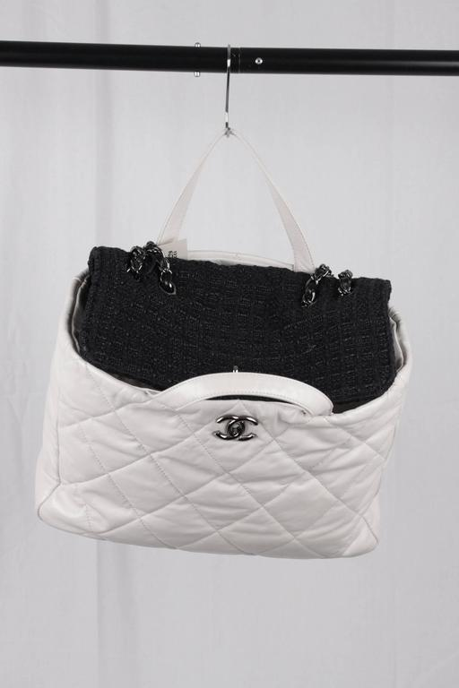 ee1ddf43109f CHANEL White QUILTED Leather PORTOBELLO Tweed Flap TOTE Shoulder Bag For  Sale 2
