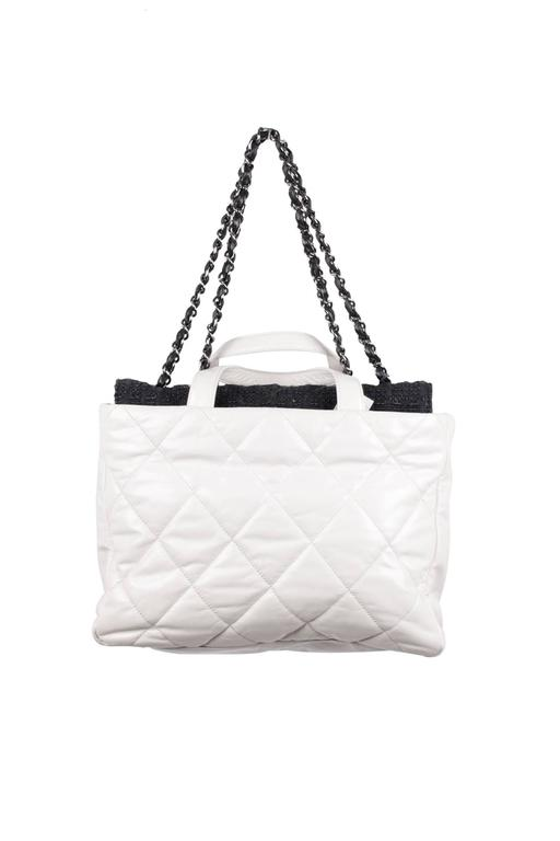 f49ea464321b Women's CHANEL White QUILTED Leather PORTOBELLO Tweed Flap TOTE Shoulder Bag  For Sale