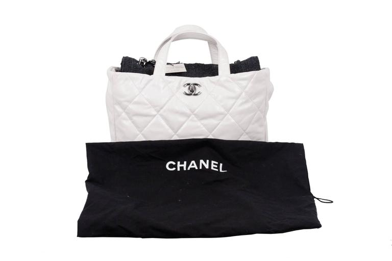 5aa3c2f3a81f CHANEL White QUILTED Leather PORTOBELLO Tweed Flap TOTE Shoulder Bag For  Sale 5