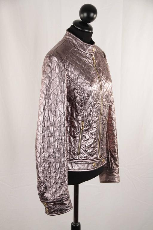 DOLCE & GABBANA Metallic Silver Leather Quilted Moto BIKER JACKET Size 42 3