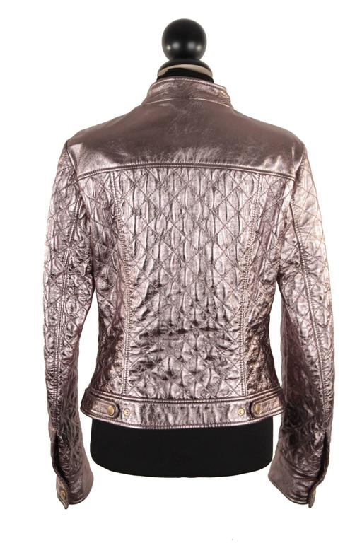 DOLCE & GABBANA Metallic Silver Leather Quilted Moto BIKER JACKET Size 42 4