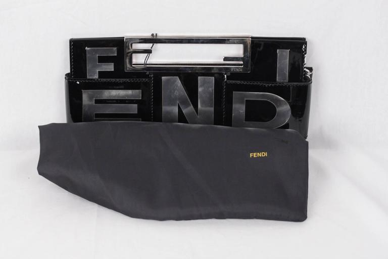 FENDI Black Patent Leather CROSSWORD CLUTCH BAG Handbag 4