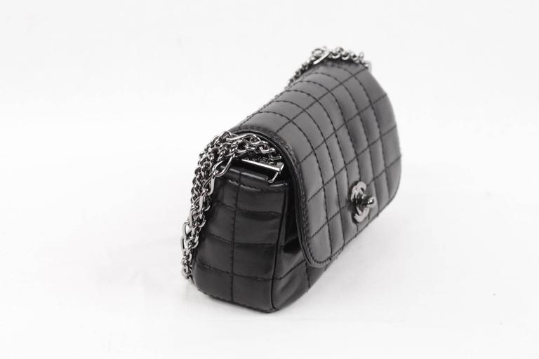 43ac8b7aae6e3b Chanel Black Square Quilted Leather Mini Flap Handbag Multi Chain Bag In  Excellent Condition For Sale