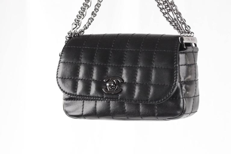 bb6a0d5fa53070 Chanel Black Square Quilted Leather Chain Flap Bag - Multi-chain handle -  Gunmetal