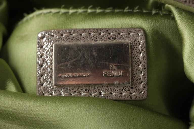839e34fb7e FENDI Metallic Leather CLUTCH Handbag EVENING BAG Purse w/ RHINESTONES For  Sale 1