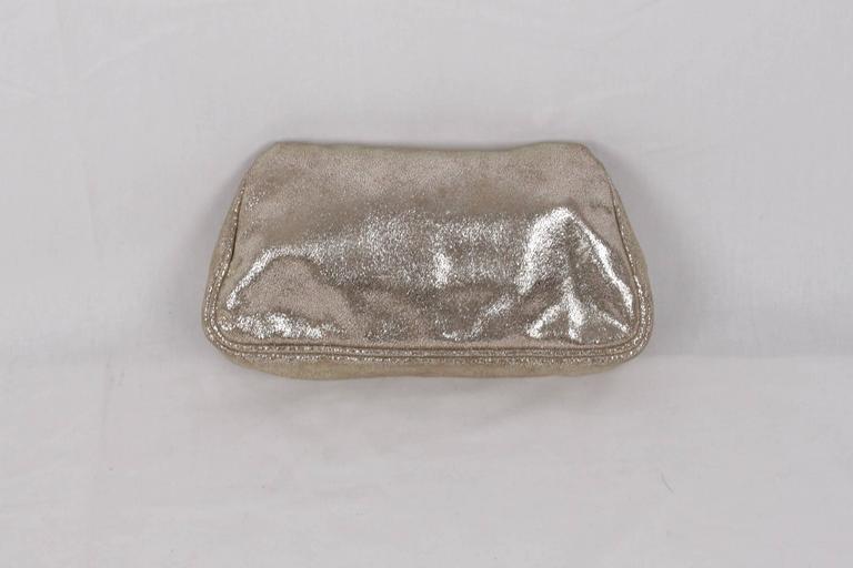 33001855a6 Women's FENDI Metallic Leather CLUTCH Handbag EVENING BAG Purse w/  RHINESTONES For Sale