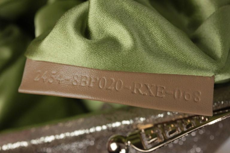 3d2843bd68 FENDI Metallic Leather CLUTCH Handbag EVENING BAG Purse w/ RHINESTONES For  Sale 2