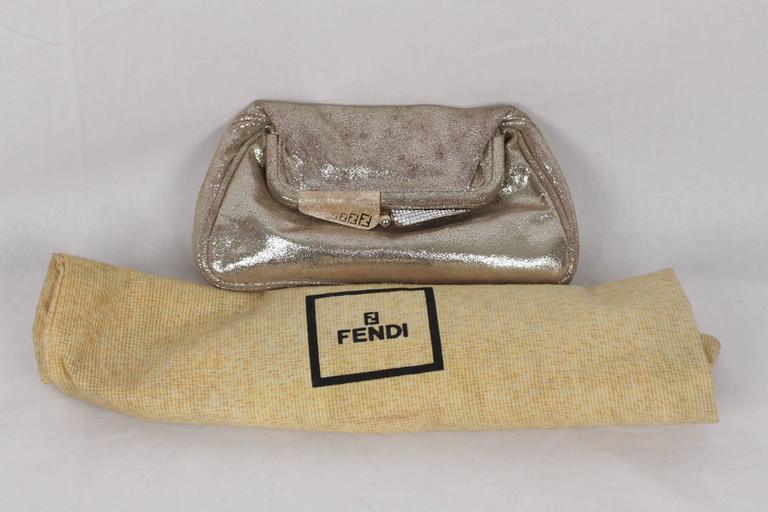 fdac219210 ... CLUTCH Handbag EVENING BAG Purse w/ RHINESTONES For Sale. - Fendi  silver metallic leather evening bag - Kiss lock clasp - Gold and silver  metal