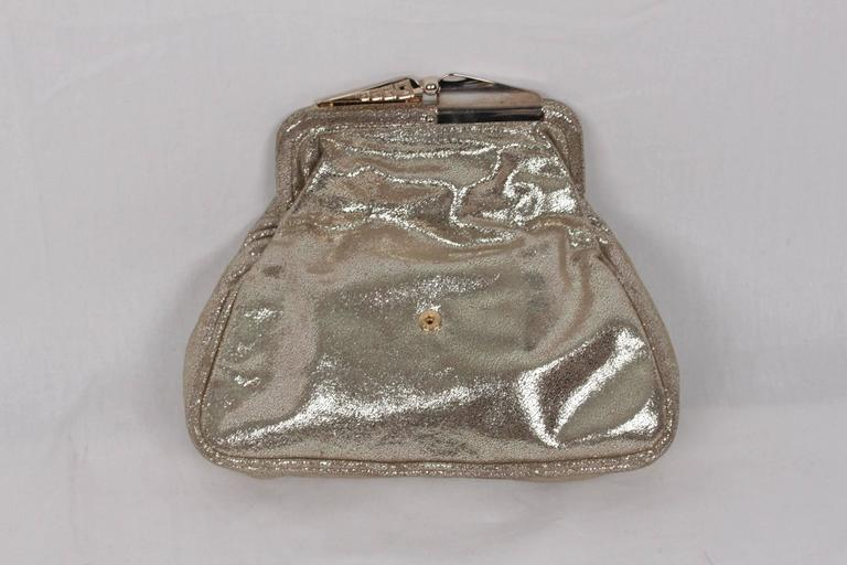260a75c7be FENDI Metallic Leather CLUTCH Handbag EVENING BAG Purse w/ RHINESTONES In  Good Condition For Sale