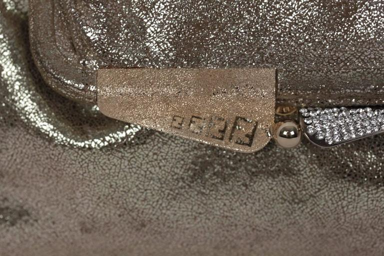 05fbbd2947 Gray FENDI Metallic Leather CLUTCH Handbag EVENING BAG Purse w/ RHINESTONES  For Sale