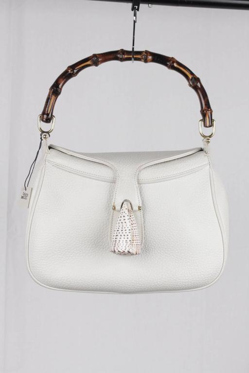 Gray GUCCI Vintage RARE White Leather SEA SHELL HANDBAG Bamboo Bag For Sale