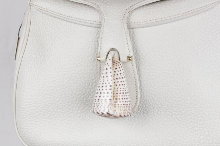 Women's GUCCI Vintage RARE White Leather SEA SHELL HANDBAG Bamboo Bag For Sale