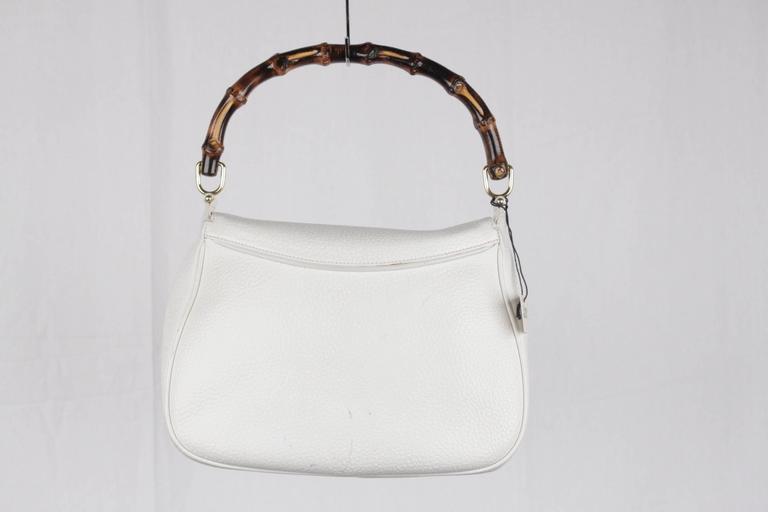 GUCCI Vintage RARE White Leather SEA SHELL HANDBAG Bamboo Bag For Sale 3