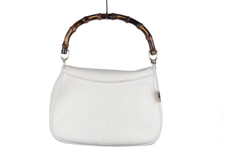 GUCCI Vintage RARE White Leather SEA SHELL HANDBAG Bamboo Bag For Sale 1