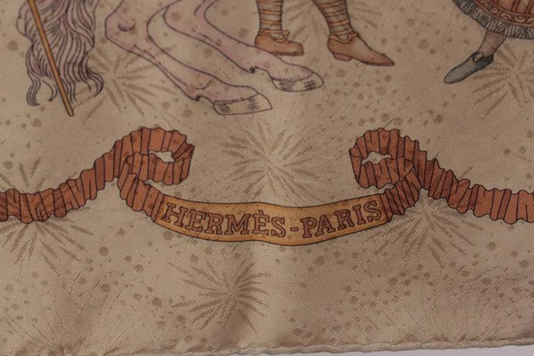 Beige HERMES PARIS Tan Silk JACQUARD SCARF Les Fetes du Roi Soleil DUCHENE w/ Box