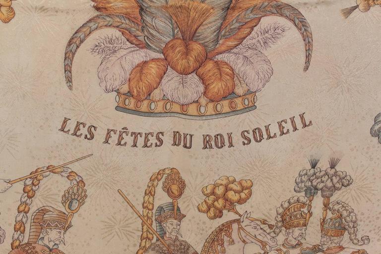 Women's HERMES PARIS Tan Silk JACQUARD SCARF Les Fetes du Roi Soleil DUCHENE w/ Box