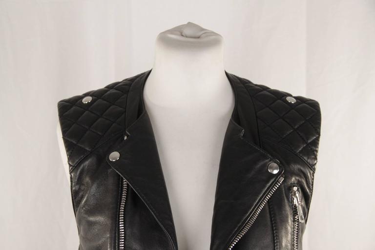 BALENCIAGA Black Leather BIKER MOTO GILET Vest SLEEVELESS Jacket SIZE 38 XS 2