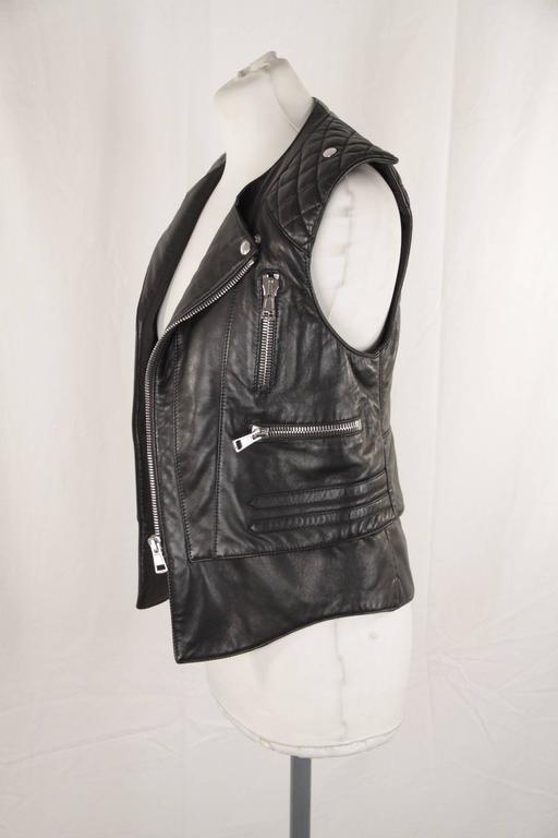 BALENCIAGA Black Leather BIKER MOTO GILET Vest SLEEVELESS Jacket SIZE 38 XS 3