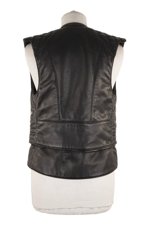 BALENCIAGA Black Leather BIKER MOTO GILET Vest SLEEVELESS Jacket SIZE 38 XS 4