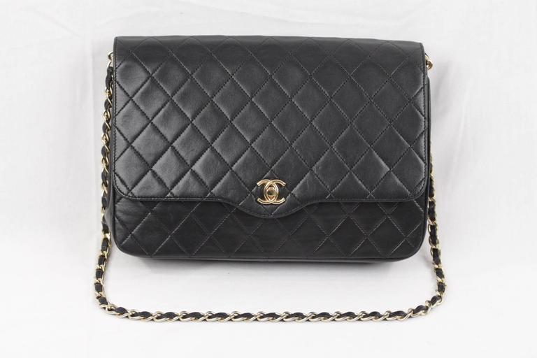 CHANEL Vintage 80s Black QUILTED Leather Classic Flap SHOULDER BAG 2