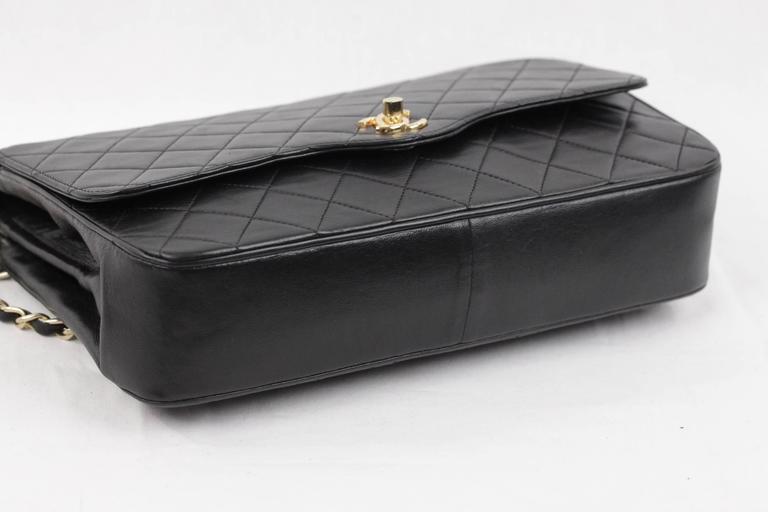 CHANEL Vintage 80s Black QUILTED Leather Classic Flap SHOULDER BAG 6