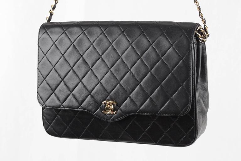 CHANEL Vintage 80s Black QUILTED Leather Classic Flap SHOULDER BAG 3