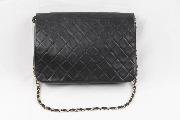 CHANEL Vintage 80s Black QUILTED Leather Classic Flap SHOULDER BAG 7