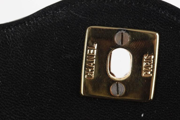 CHANEL Vintage 80s Black QUILTED Leather Classic Flap SHOULDER BAG 10