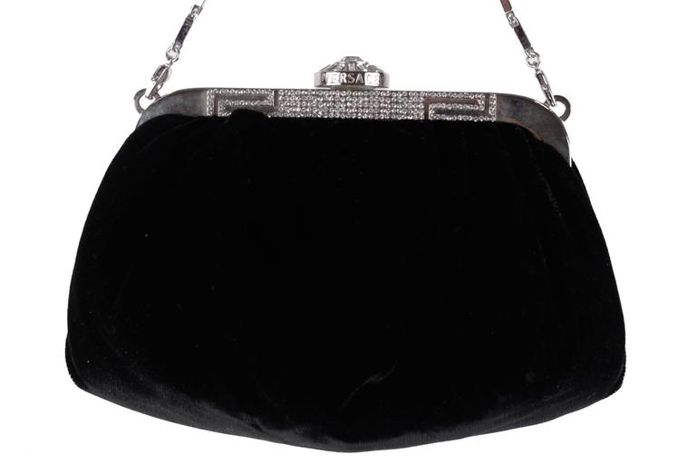 Versace Black Evening Bag Silver Metal Frame Embellished With Rhinestones Clasp Closure On