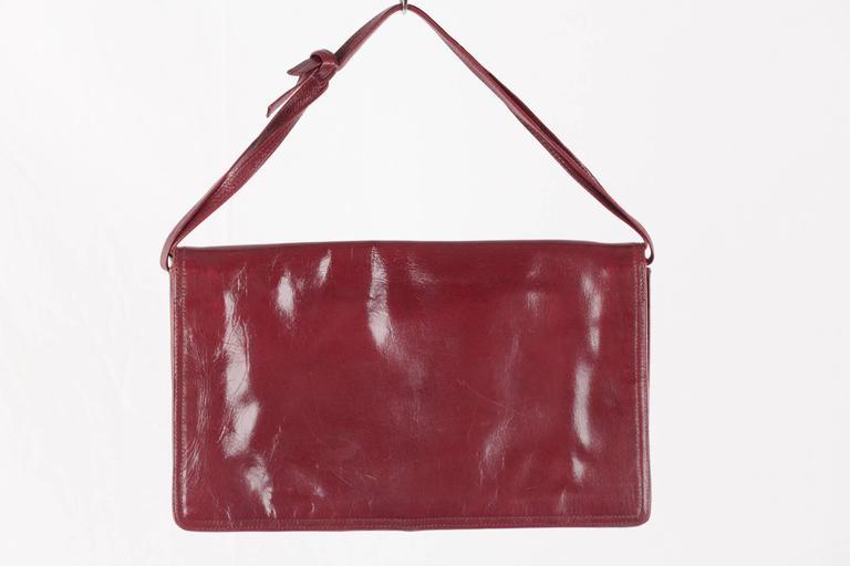 Women's BOTTEGA VENETA Vintage Burgundy Leather FLAP PURSE Shoulder Bag CLUTCH For Sale