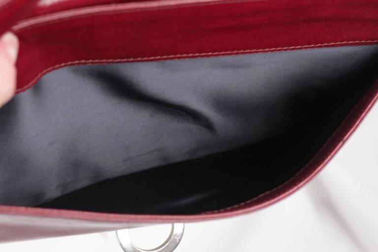 BOTTEGA VENETA Vintage Burgundy Leather FLAP PURSE Shoulder Bag CLUTCH For Sale 2