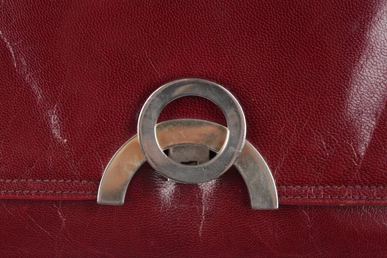 Brown BOTTEGA VENETA Vintage Burgundy Leather FLAP PURSE Shoulder Bag CLUTCH For Sale