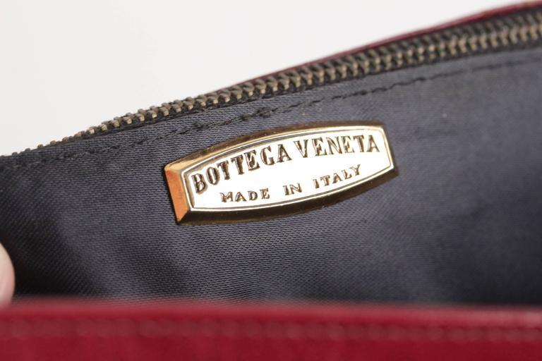 BOTTEGA VENETA Vintage Burgundy Leather FLAP PURSE Shoulder Bag CLUTCH For Sale 4