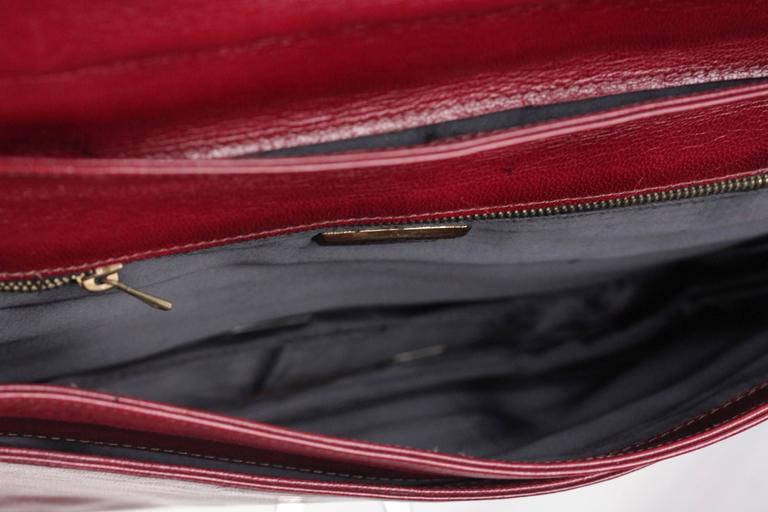 BOTTEGA VENETA Vintage Burgundy Leather FLAP PURSE Shoulder Bag CLUTCH For Sale 1