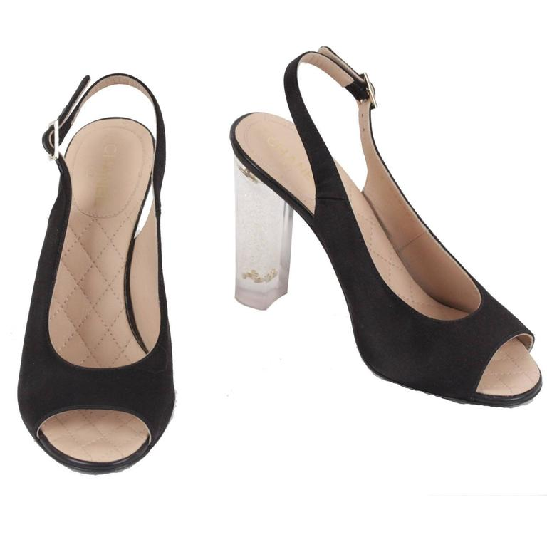 CHANEL Black Satin LUCITE HEEL Gold Glitter SLINGBACK Open Toe PUMPS 36.5 C  For Sale