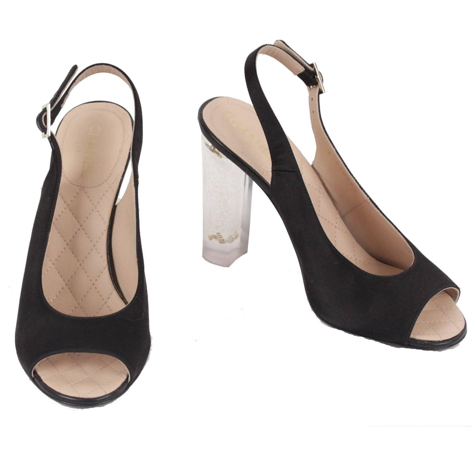 e2d79fd8c52 CHANEL Black Satin LUCITE HEEL Gold Glitter SLINGBACK Open Toe PUMPS 36.5 C  For Sale at 1stdibs