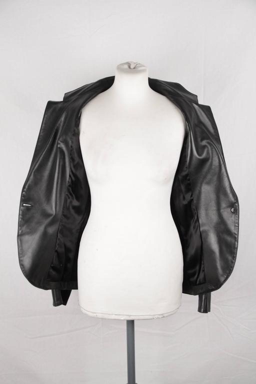 AZZEDINE ALAIA Vintage Black Leather BLAZER Jacket SIZE 40 5