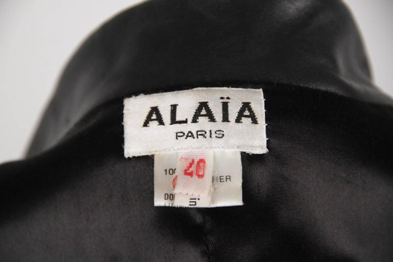 AZZEDINE ALAIA Vintage Black Leather BLAZER Jacket SIZE 40 6