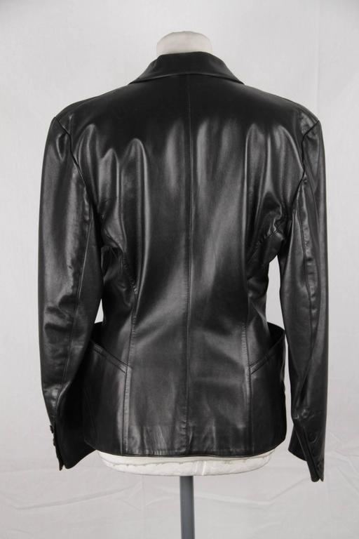 AZZEDINE ALAIA Vintage Black Leather BLAZER Jacket SIZE 40 4